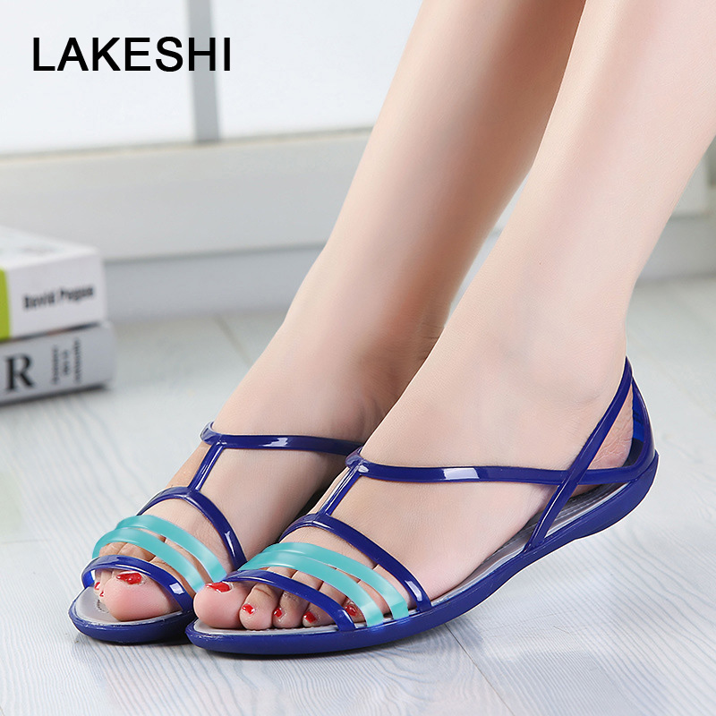 35157b77ea5721 Women Shoes Sandals Casual EVA Jelly Shoes Comfortable Flat Sandals Summer  Ladies ...