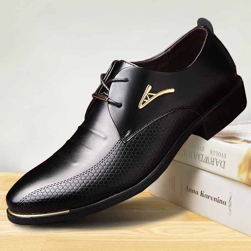 Leather Pointed Toe Formal Mens Shoes Adult Men Plus Size Dress Shoes